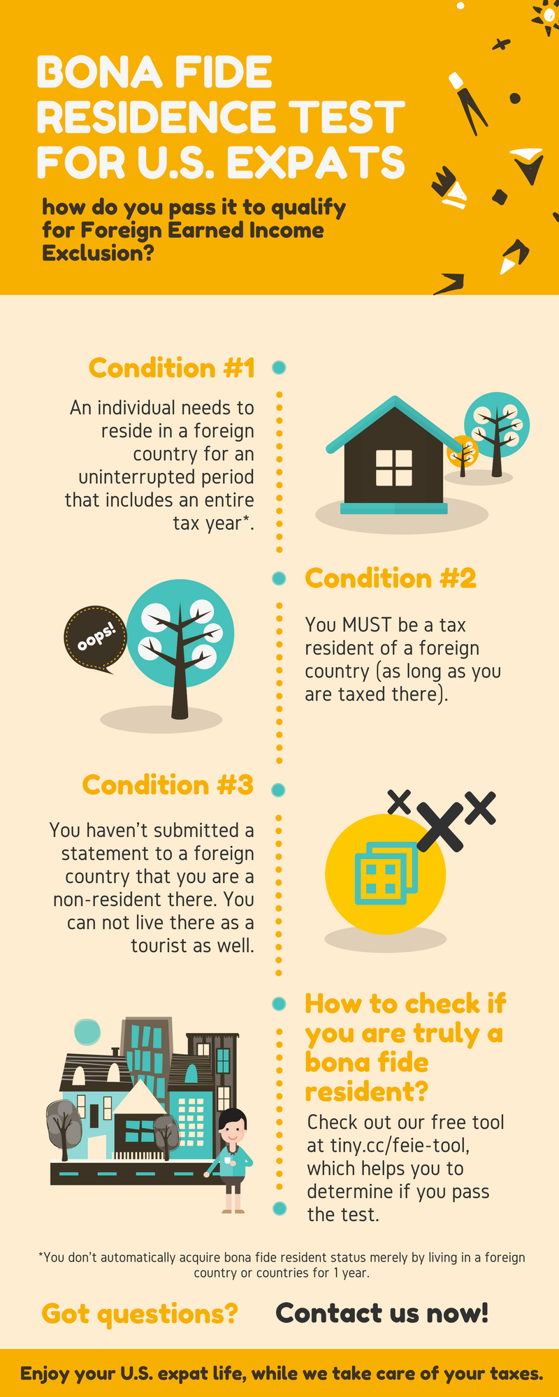 Tax infographic for US expats: Bona Fide Residence Test