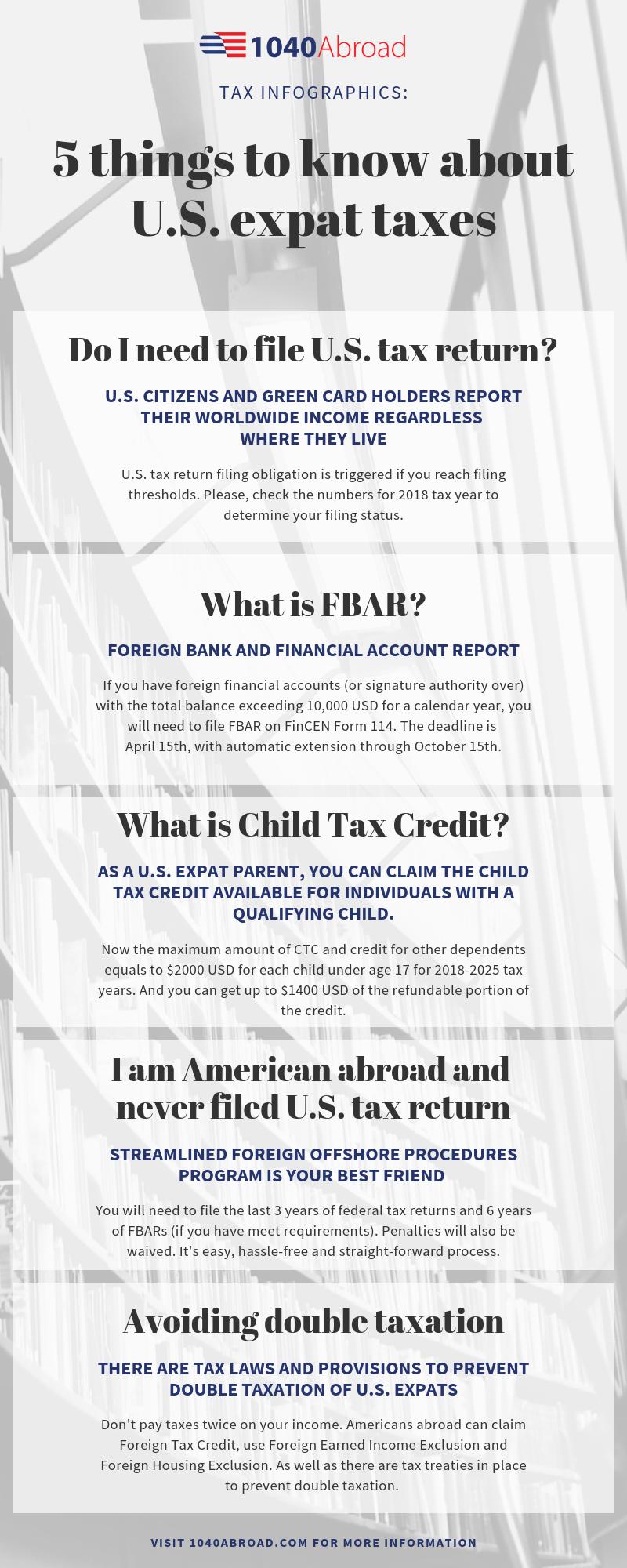 infographic, international taxation, tax obligations, US expats, FBAR, tax return, child tax credit, double taxation